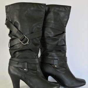 Faded Glory Black Boots 7.5 Strap Accents